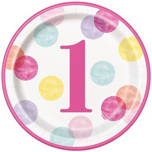 Pink Dots First Birthday Round Dinner Plate - 23cm - Pack of 8