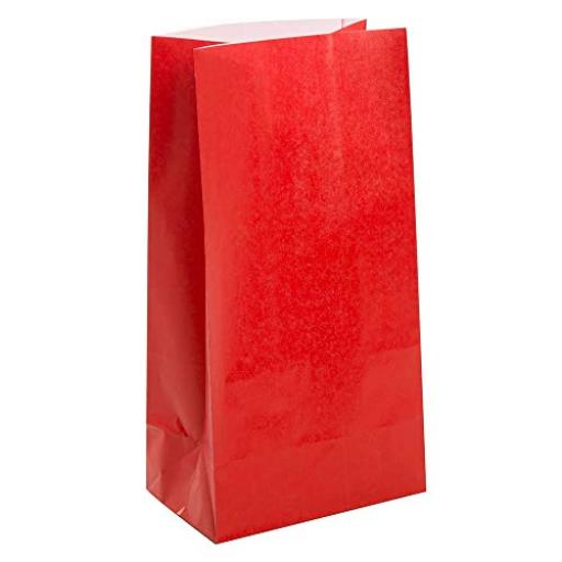 12 Paper Party Bags - Red