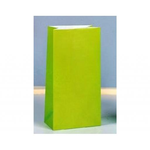 12 Paper Party Bags - Lime Green