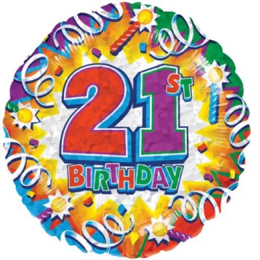 Explosion 21st Prismatic Birthday Foil Balloon 18in