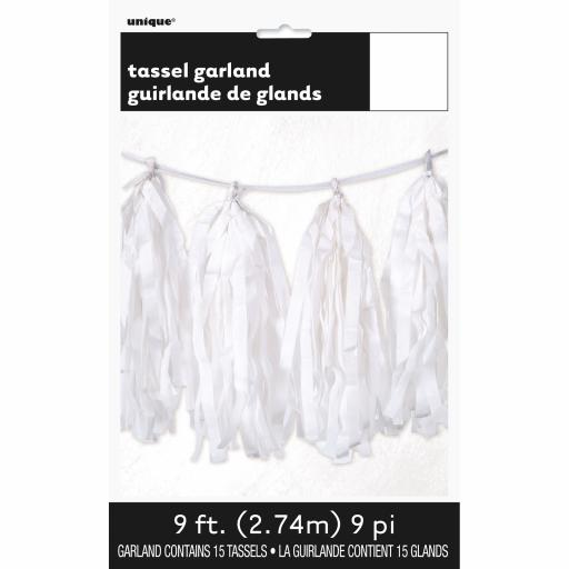 White Tassel Garland 9ft Contains 15 Tassels