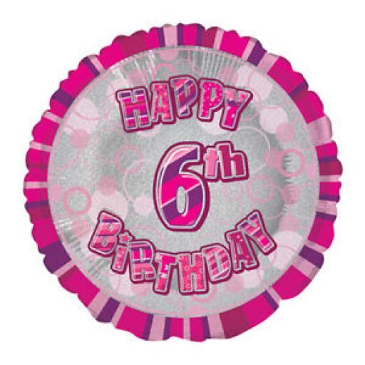 18in Prism Foil Happy 6th Birthday Balloon