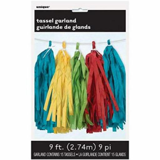 Multicolour Tassel Garland 9ft Contains 15 Tassels