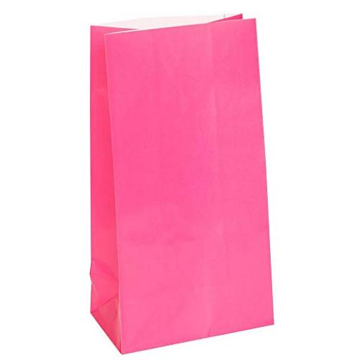 12 Paper Party Bags - Bright Pink