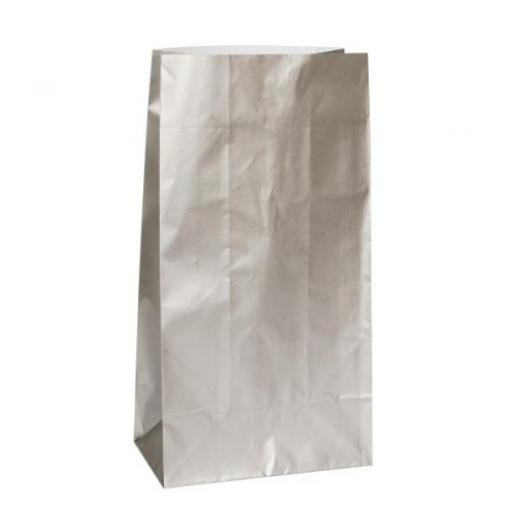 12 Paper Party Bags - Silver