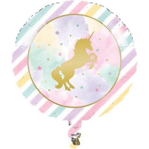 "Pastel Stripe Unicorn Foil Balloon 17"""