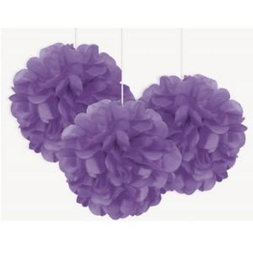 3 Mini Puff Balls - Purple