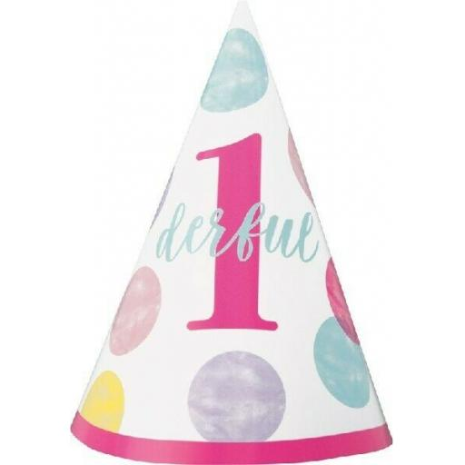 PINK DOTS 1ST BIRTHDAY MINI PARTY HAT