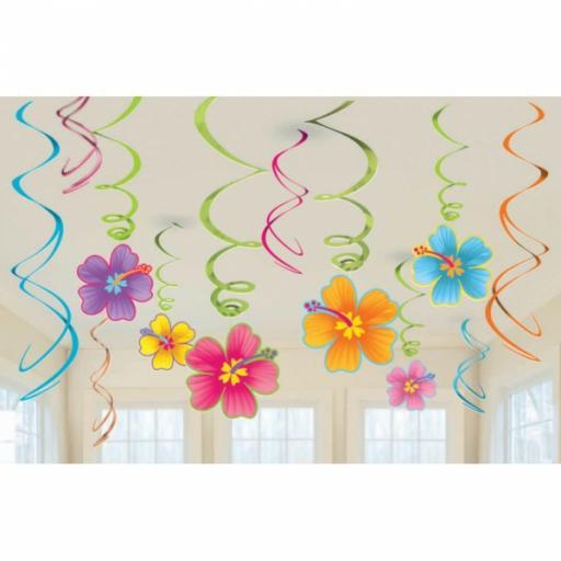Hawaiian Swirls Decorations Value Pack - 12