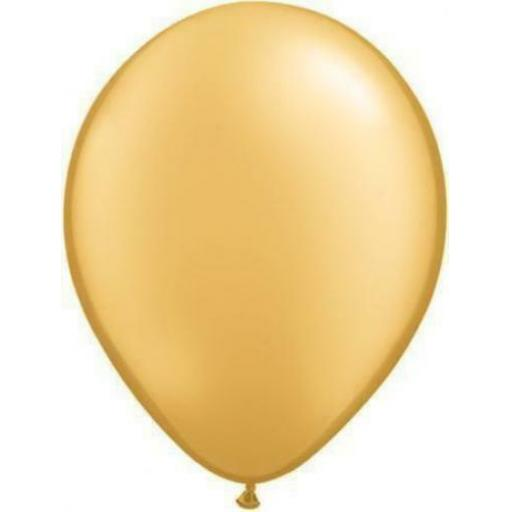 5 inch Gold Metallic Latex Balloons 100pk