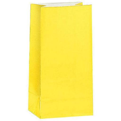 12 Paper Party Bags - Sunflower Yellow