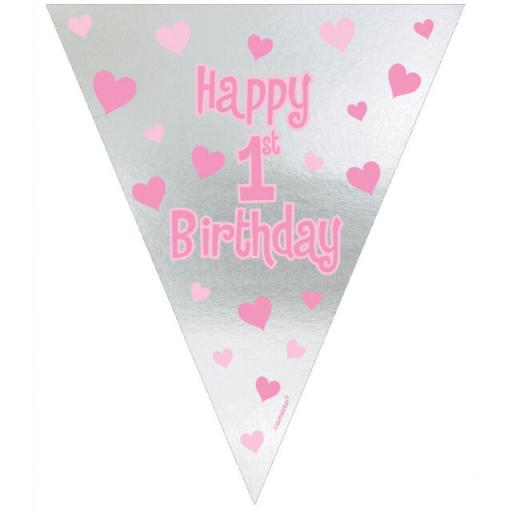 Girls 1st Birthday Bunting Banner