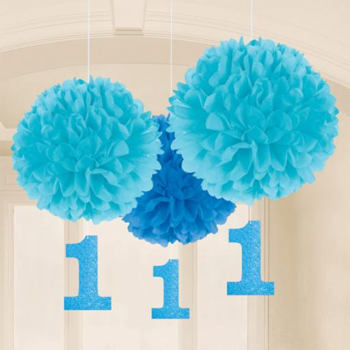 Fluffy Decorations 1st Birthday - Blue