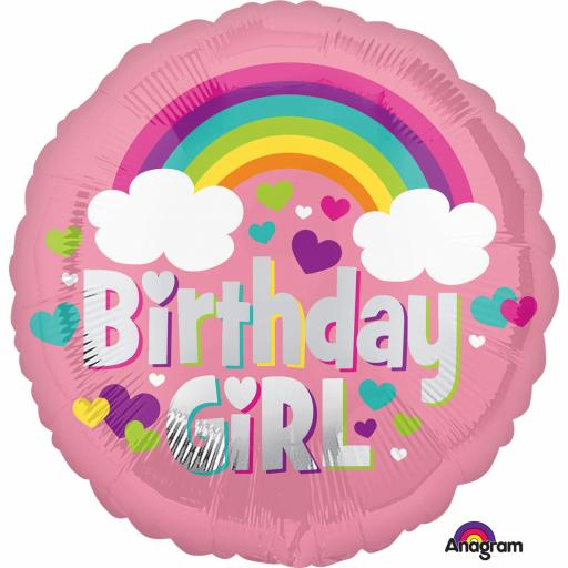 Birthday Girl Rainbow Standard Foil Balloons