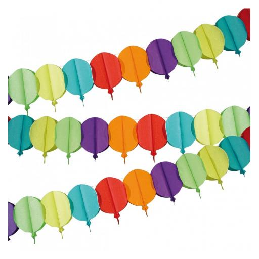 4m Garland Bunting with Balloon Shapes Multi Coloured Birthday Party