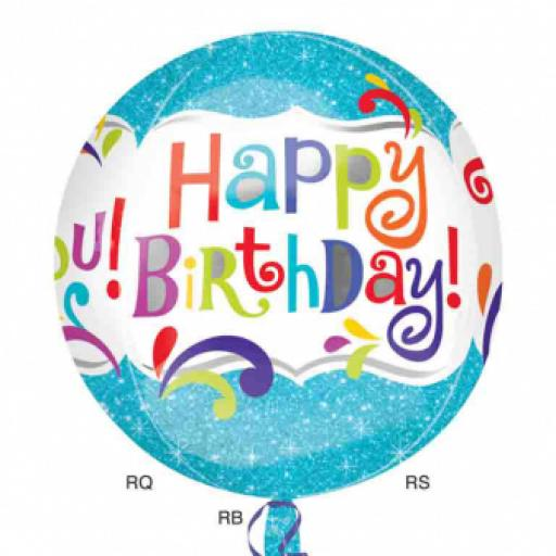 Happy Birthday Splashy Sparkle Orbz Foil Balloons 15""