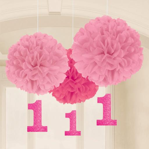 Fluffy Decorations 1st Birthday Pink