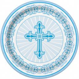 Communion Christening Blue Paper Plates 8ct