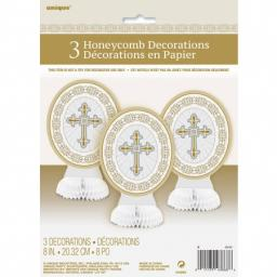 Communion Christening 3 Honeycomb Decoration Gold