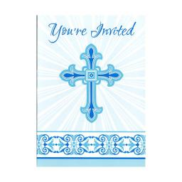 Radiant Cross - Blue Invitations 8ct