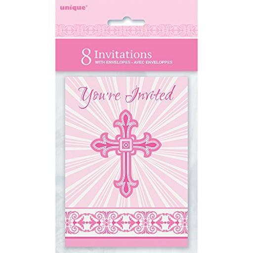 Pink Radiant Cross Invitations & Envelopes 8pk