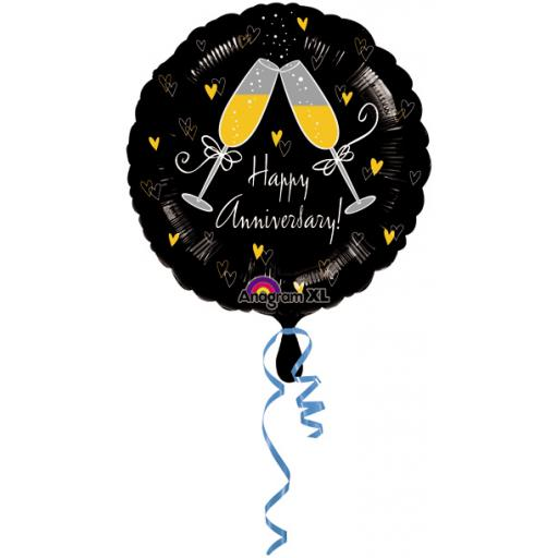 """Happy Anniversary Champagne Toasting 17"""" Foil Balloon"""