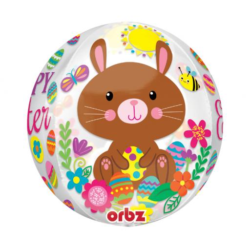 """Easter Bunnies and Eggs Orbz 3 Side 16"""" Foil Balloon"""