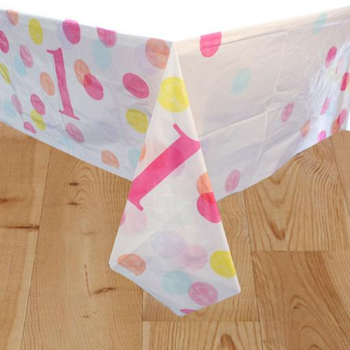 Pink First Birthday Table Cover 54in x 84in