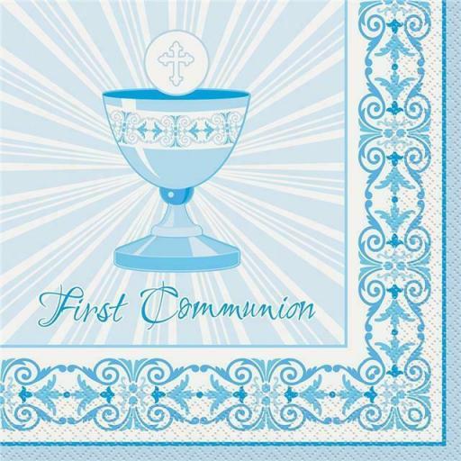 Blue Radiant Cross 1st Communion Luncheon Napkins 16pk
