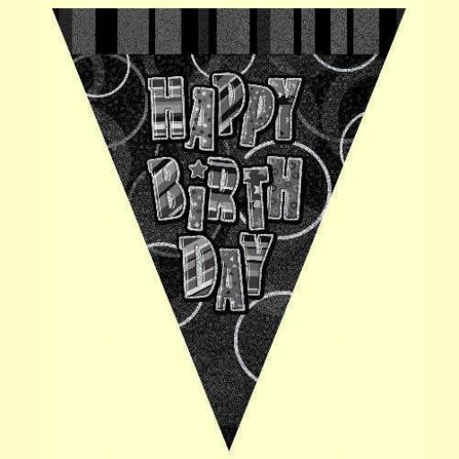 Happy Birthday Black and Silver Bunting 2.74m