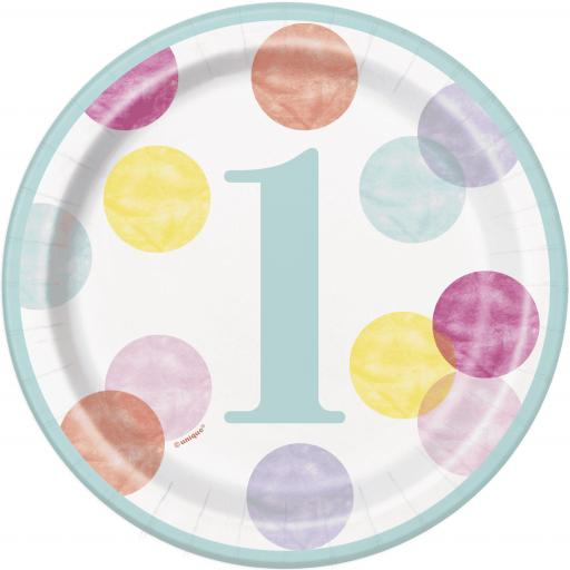 "8"" Dots 1st Birthday Plates"