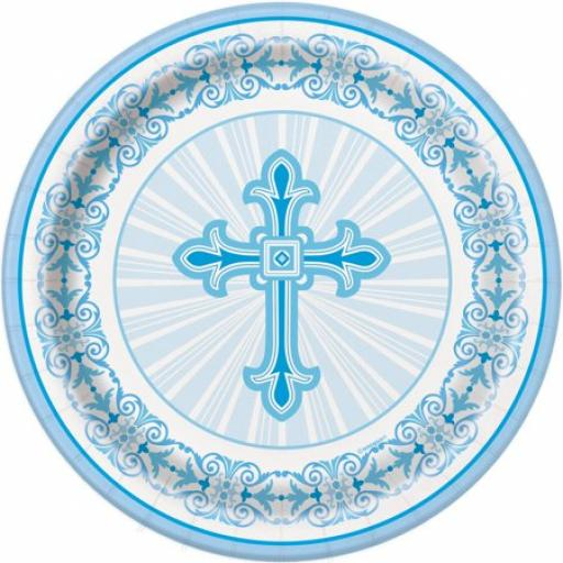 Communion Christening Blue Paper Plates 8ct