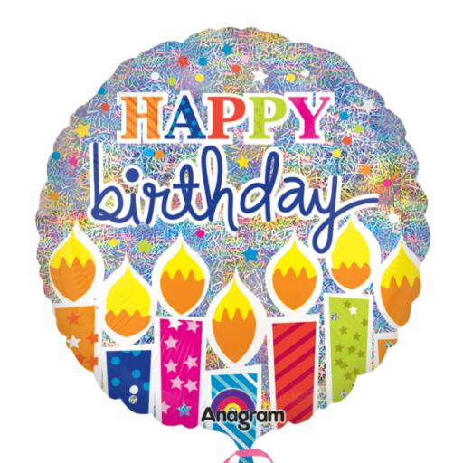 """Shimmer Birthday Candles Holographic Standard 18""""Foil Balloons"""