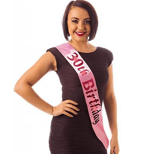 Baby Alandra Pink 30th Birthday Flashing Sash