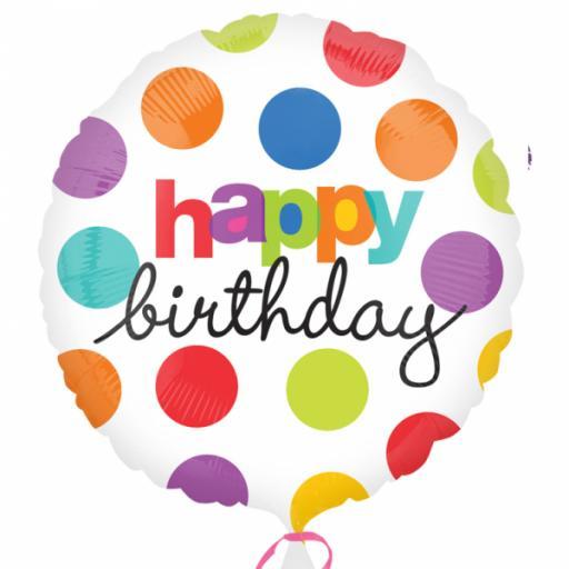 """Polka Dot Birthday Standard 17"""" Foil Balloons"""