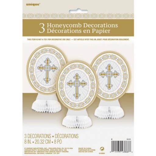 Communion Christening 3 Honeycomb Decoration Gold