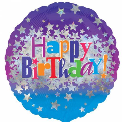"Happy Birthday Bright Stars Standard 18"" Foil Balloons"