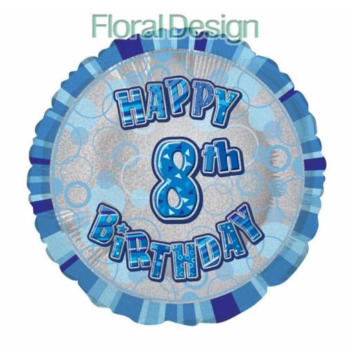 "8th Happy Birthday Foil Balloon 18"""
