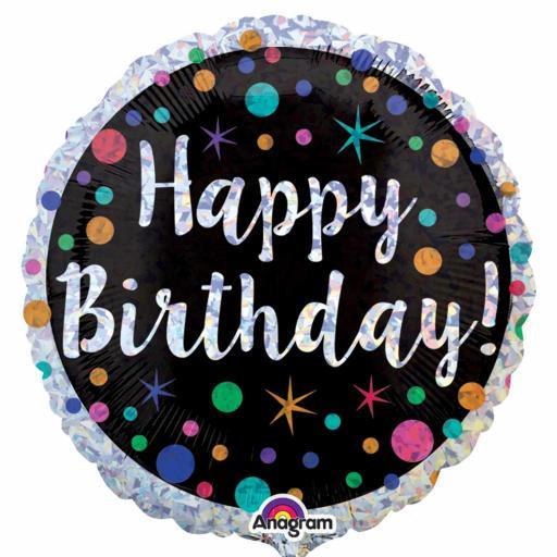 "Polka Dot Happy Birthday Holographic Standard 18"" Foil Balloons"