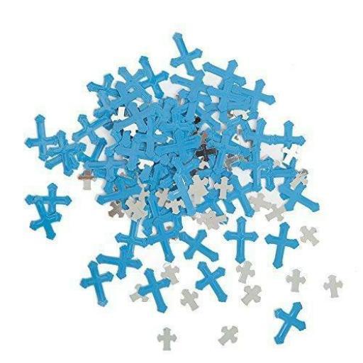 Foil Radiant Cross Blue Religious Confetti