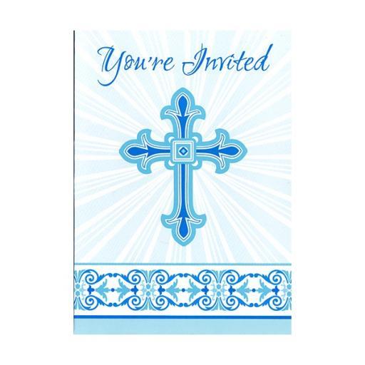 Radiant Cross - Blue Invitations 8ct