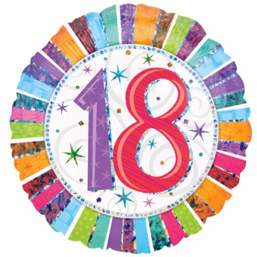 "Radiant Birthday 18 Standard 18"" Foil Balloons"
