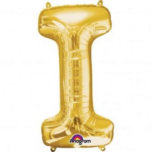 "Letter ""I"" Gold Mini Shaped Air-Filled Foil Balloon 7"" x 13"""