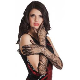 Womens Black Lace Long Gloves Spiderweb