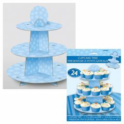 Baby Blue Cupcake Stand Hold 24