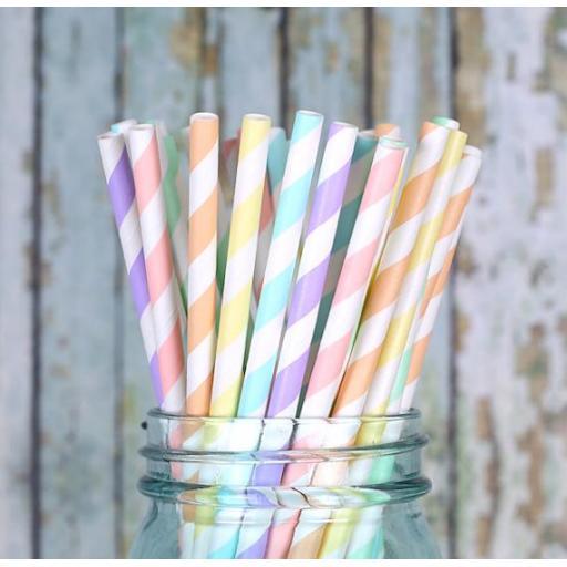 Pastel Jumbo Paper Straws Biodegradable 20pk