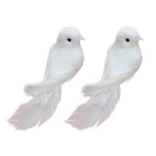 Yalulu 2Pcs Decorative Fake Doves Pigeon Artificial Foam Feather White Birds , Craft Bird For Home Ornaments,Wedding Decor