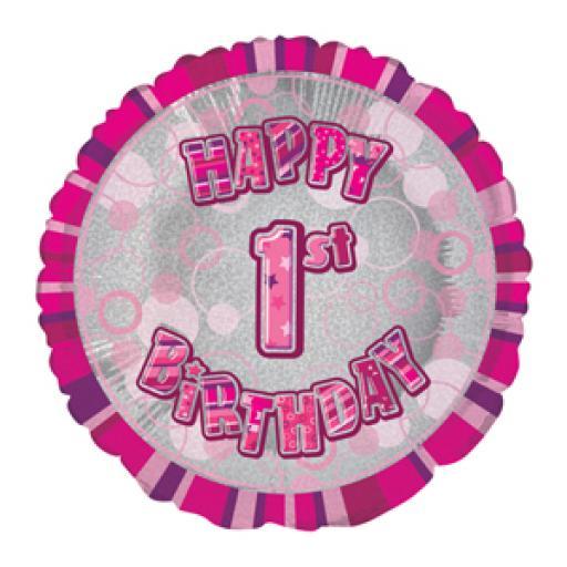 "Happy 1st Birthday Foil Balloon Pink 18"""