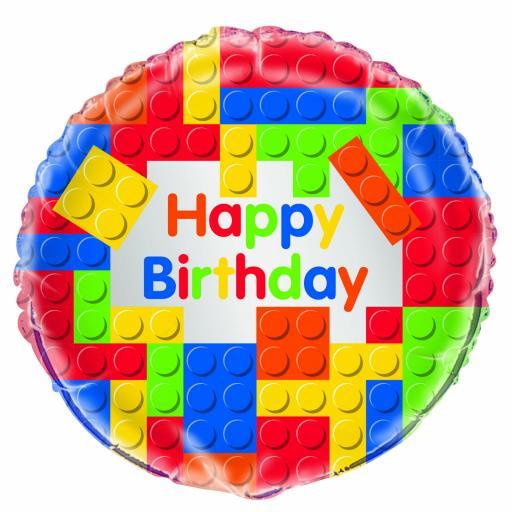 "18"" Lego Blocks / Happy Birthday Foil Balloon"
