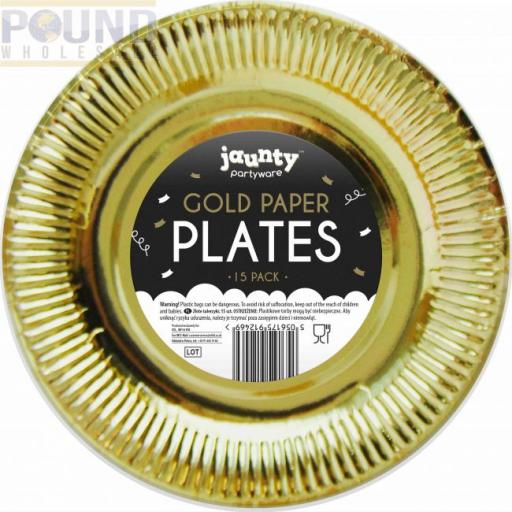 Gold Paper Plates 15pk 9""